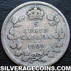 1909 round l. Edward VII Canadian Silver 5 cents