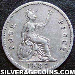 "1837 William IV British Silver ""Groat"" Fourpence"