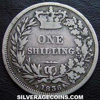 1836 William IV British Silver Shilling