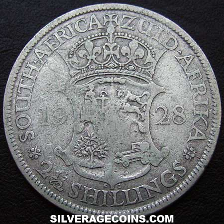 1928 George V South African Silver Two and a Half  Shillings