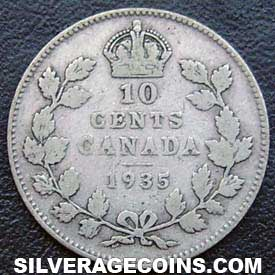 "1935 George V Canadian Silver ""Dime"" 10 cents"