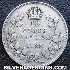 1935 George V Canadian Silver Dime 10 Cents