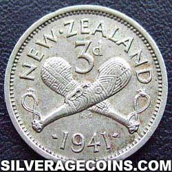 1941 George VI New Zealand Silver Threepence