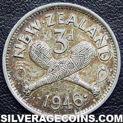 1946 George VI New Zealand Silver Threepence