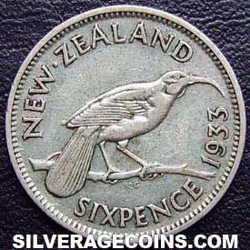 1933 George V New Zealand Silver Sixpence