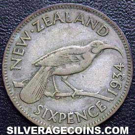 1934 George V New Zealand Silver Sixpence
