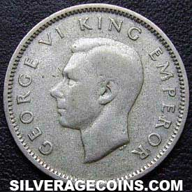 1943 George VI New Zealand Silver Sixpence