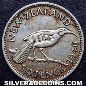 1946 George VI New Zealand Silver Sixpence