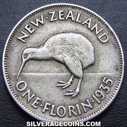 1935 George V New Zealand Silver Florin