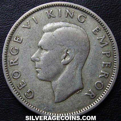 1943 George VI New Zealand Silver Florin