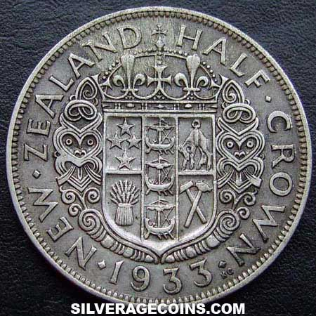 1933 George V New Zealand Silver Half Crown