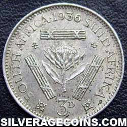 1936 George V South African Silver Threepence