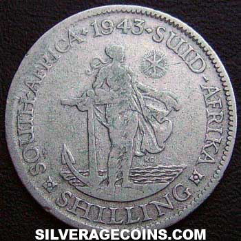1943 George VI South African Silver Shilling