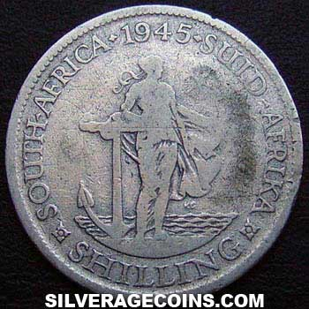 1945 George VI South African Silver Shilling