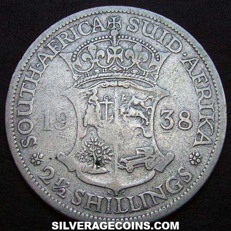 1938 George VI South African Silver Two and a Half Shillings