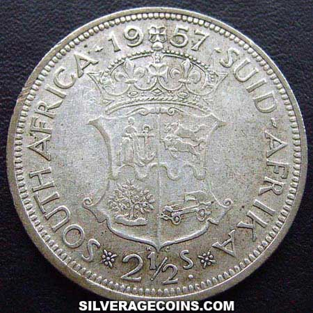 1957 Elizabeth II South African Silver Two and a Half Shillings