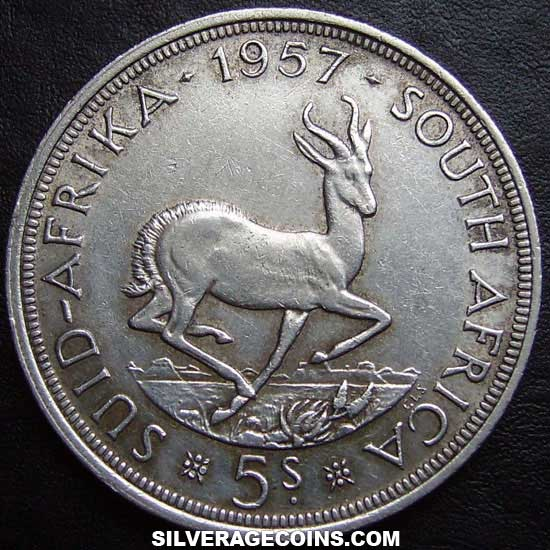 1957 Elizabeth II South African Silver 5 Shillings