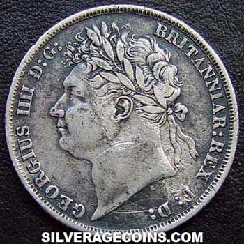 "1824 George IV British Silver ""Laureate Head"" Shilling"