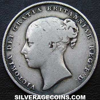 "1857 Queen Victoria British Silver ""Young Head"" Shilling"