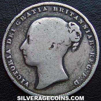 "1859 Queen Victoria British Silver ""Young Head"" Shilling"
