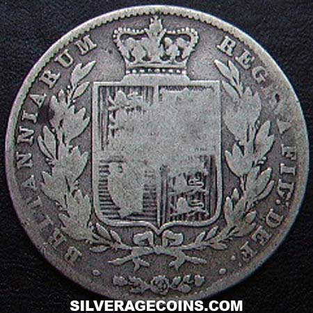 "1844 Queen Victoria British Silver ""Young Head"" Half Crown"