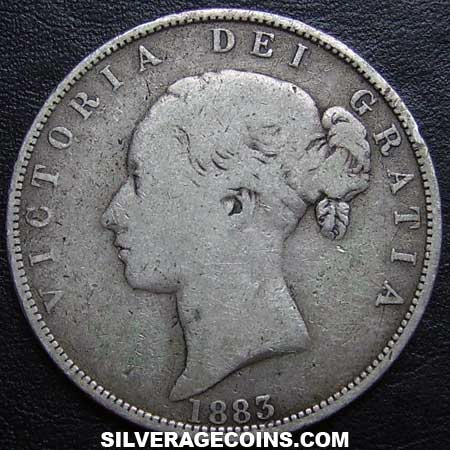 "1883 Queen Victoria British Silver ""Young Head"" Half Crown"