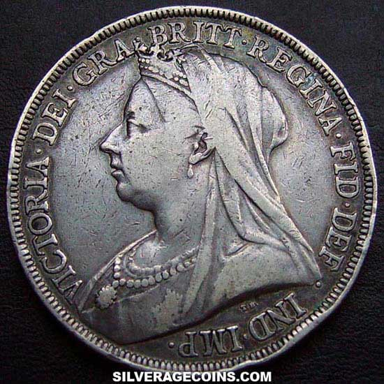 "1893-LVII Queen Victoria British Silver ""Widow Head"" Crown"