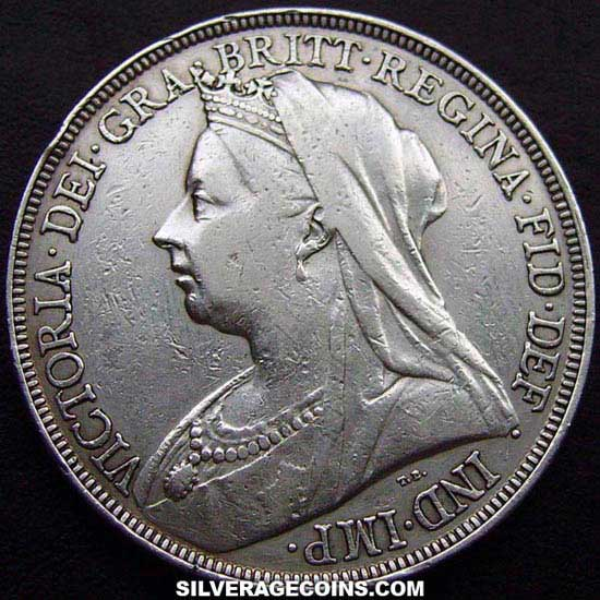 "1894-LVII Queen Victoria British Silver ""Widow Head"" Crown"