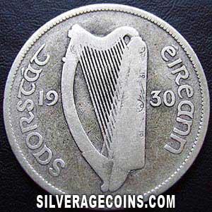 1930 Irish Silver Half Crown