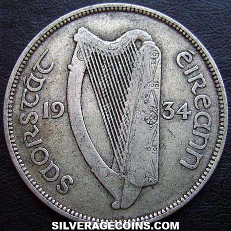 1934 Irish Silver Half Crown