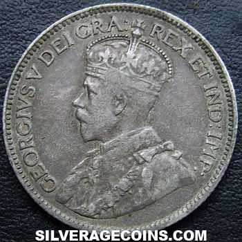 1912 George V Canadian Silver 25 Cents