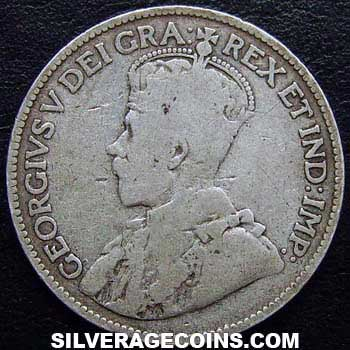 1914 George V Canadian Silver 25 Cents