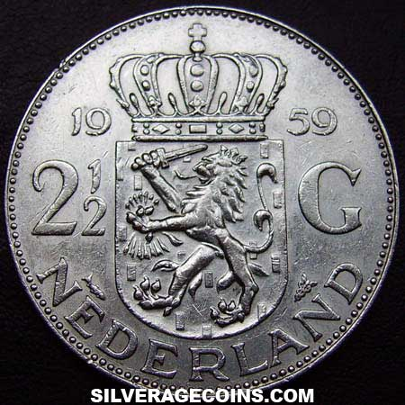 1959 Netherlands Juliana Two and a Half Silver Guldens