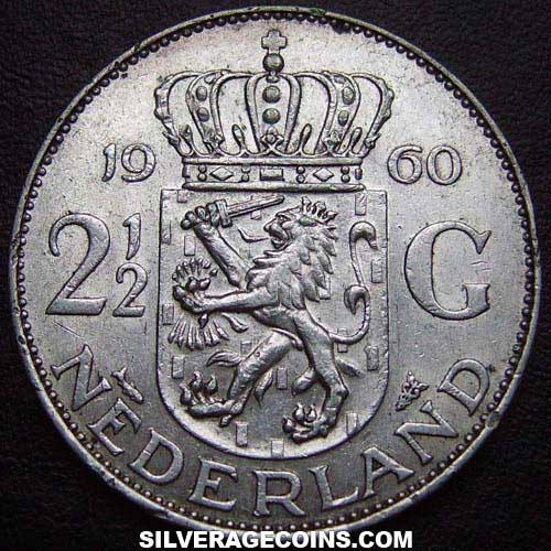 1960 Netherlands Juliana Two and a Half Silver Guldens