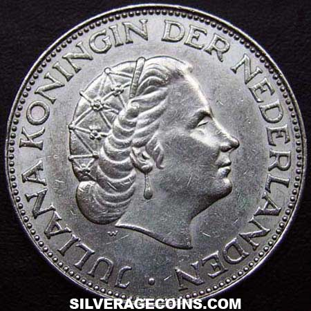 1964 Netherlands Juliana Two and a Half Silver Guldens