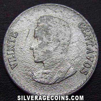 1953B Colombian Silver 20 Centavos
