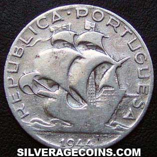 1944 Portuguese Silver Two and a Half Escudos