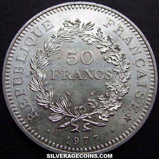 1977 French Silver 50 New Francs Hercules Silveragecoins
