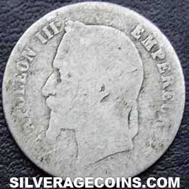 1865A Napoleon III French Silver 50 Cents (Second Empire)