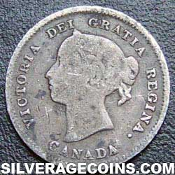 1888 Victoria Canadian Silver 5 cents