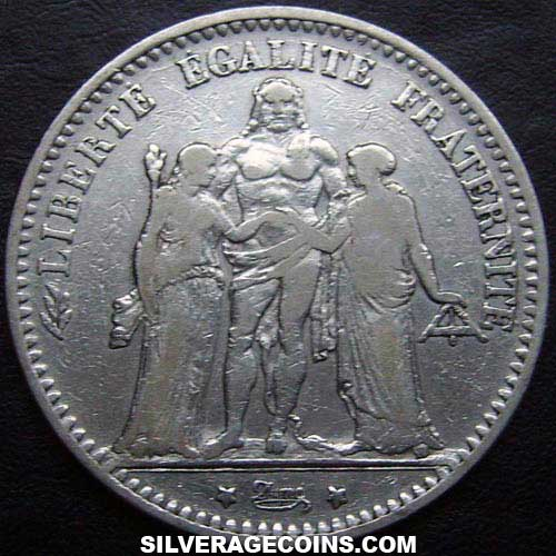 1874K 5 French Silver Francs (Hercules)