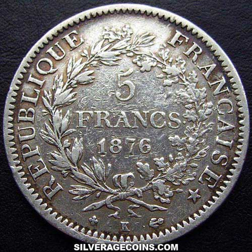 1876K 5 French Silver Francs (Hercules)