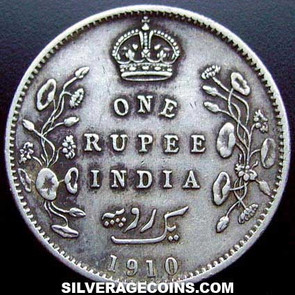 1910(c) Edward VII British India Silver Rupee