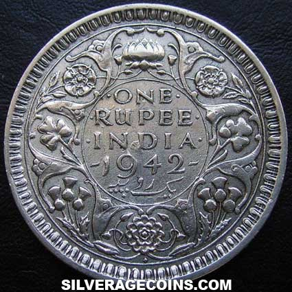 1942 (b) no dot George VI British India Silver Rupee