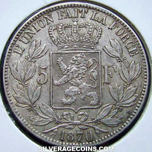 1870 Leopold II Belgian Silver 5 Francs (small head)