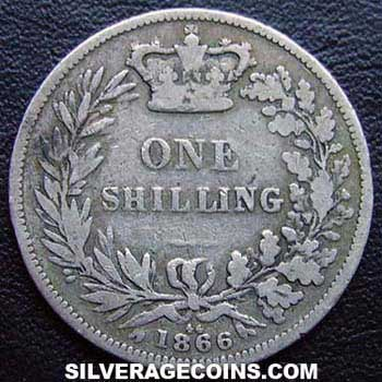 "1866 Queen Victoria British Silver ""Young Head"" Shilling"