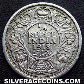 1918(c) George V British India Silver Quarter Rupee