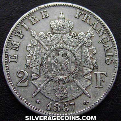 1867A Napoleon III French Silver 2 Francs