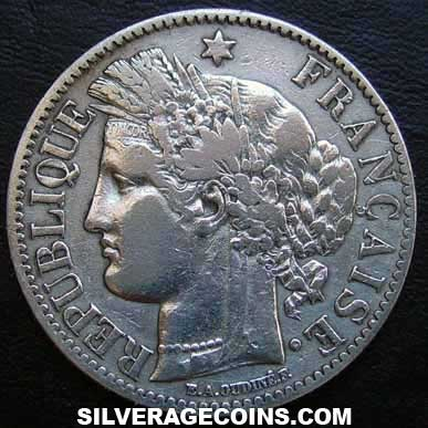 1872K French Silver 2 Francs (Liberty Head, .835)