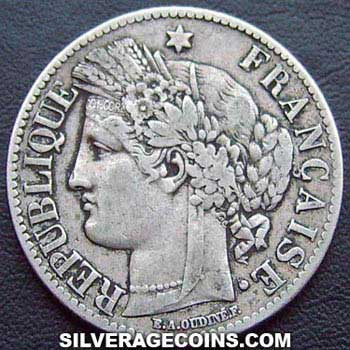 1871A large A French Silver 2 Francs (Liberty Head, .835)